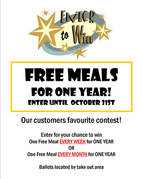 free meals forone year